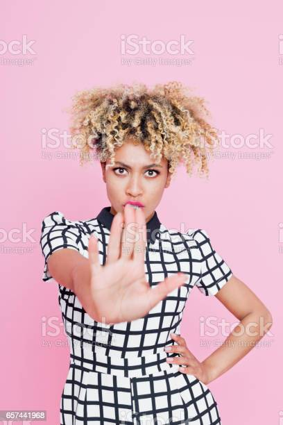 Angry Afro American Young Woman Gesturing Stop Stock Photo - Download Image Now