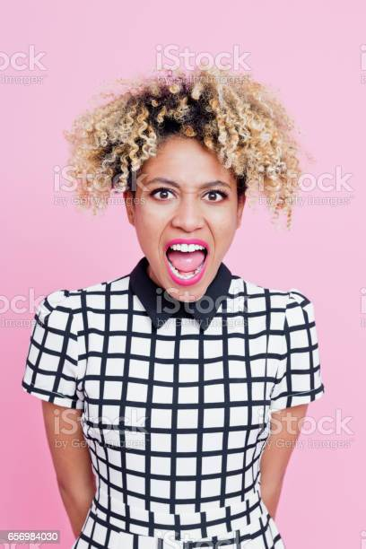 Angry Afro American Young Woman Shouting Stock Photo - Download Image Now