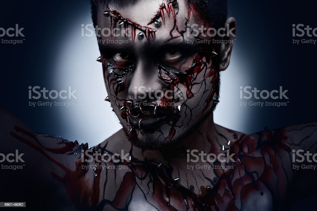 Angry and bloody. stock photo
