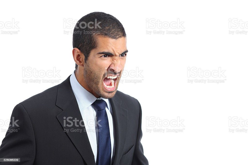 Angry arab business man shouting stock photo