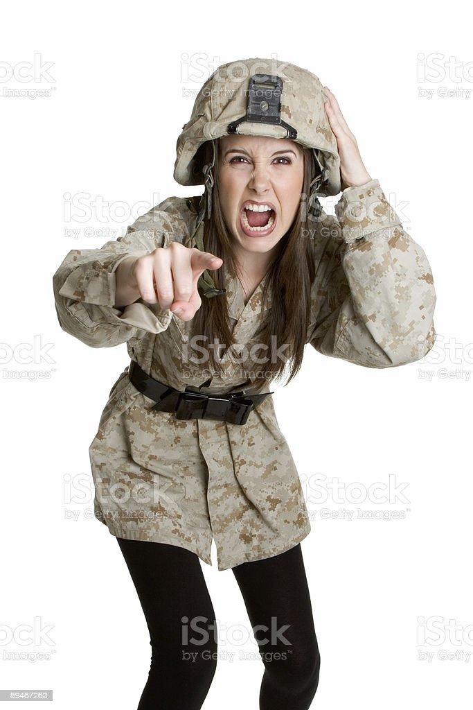 Angry army girl stock photo