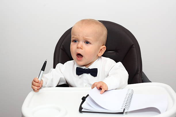 Angry baby boss stock photo