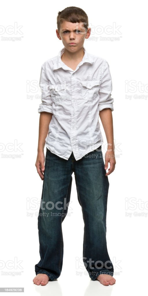 Angry Barefoot Standing Boy stock photo
