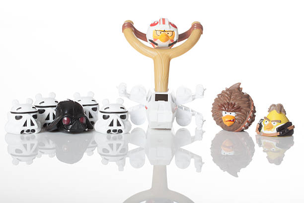 Angry Birds Star Wars Jenga figures stock photo