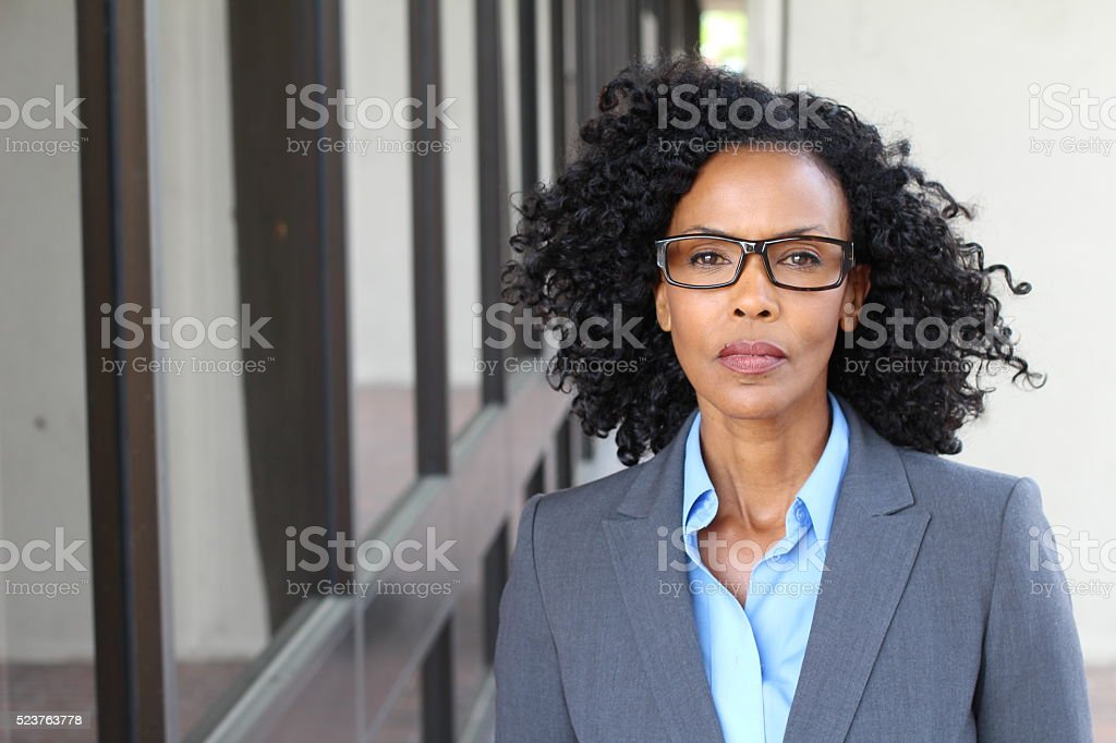 Angry black business woman portrait isolated stock photo