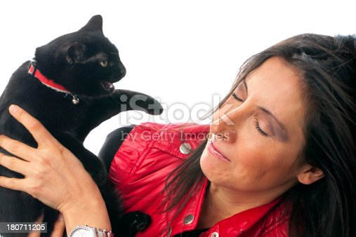 istock Angry black cat and woman 180711205