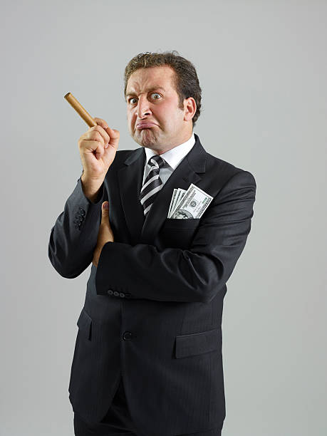 angry boss - guy with cigar stockfoto's en -beelden