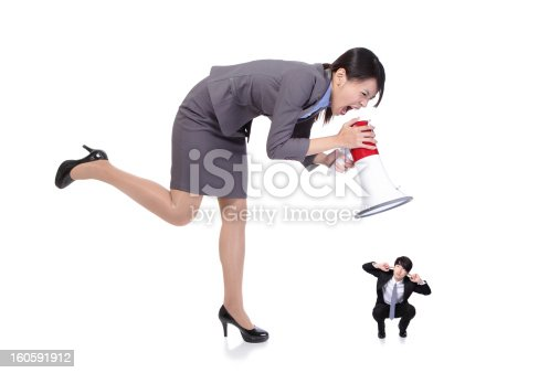 istock angry boss with megaphone yelling to Staff 160591912