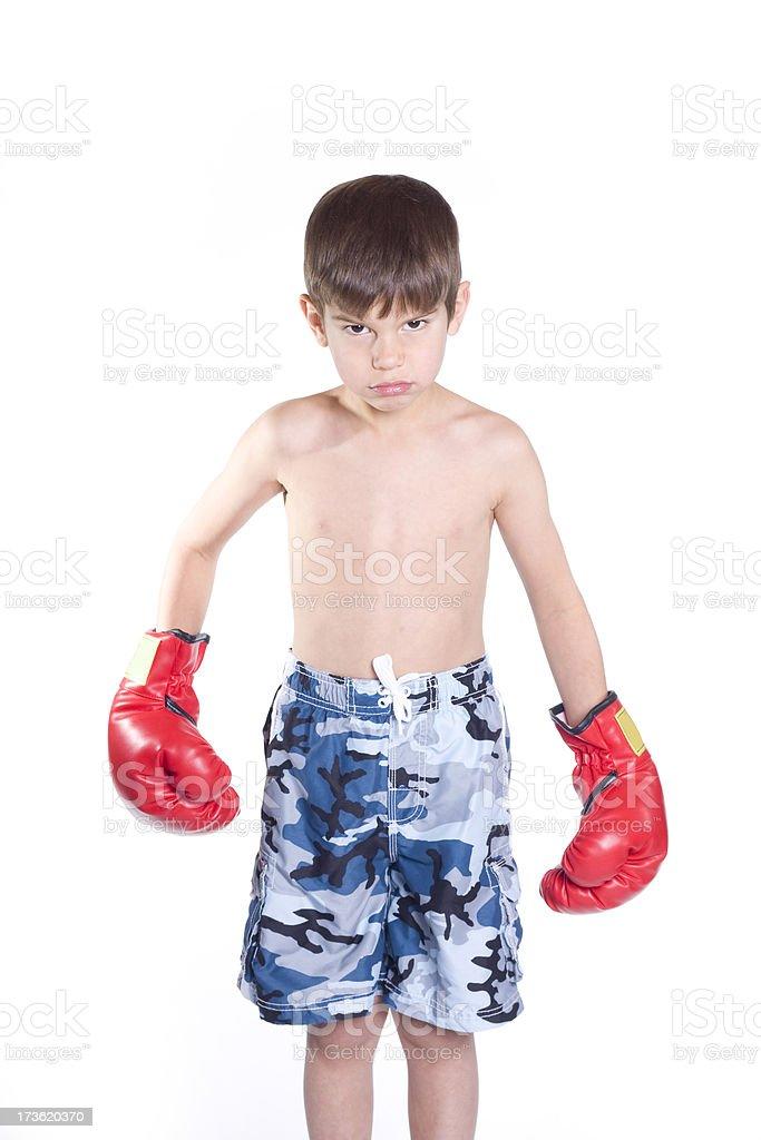 Angry Boxer Boy stock photo