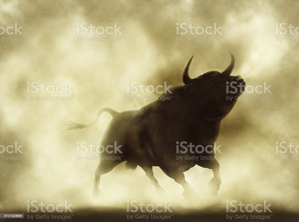 Angry bull stock photo