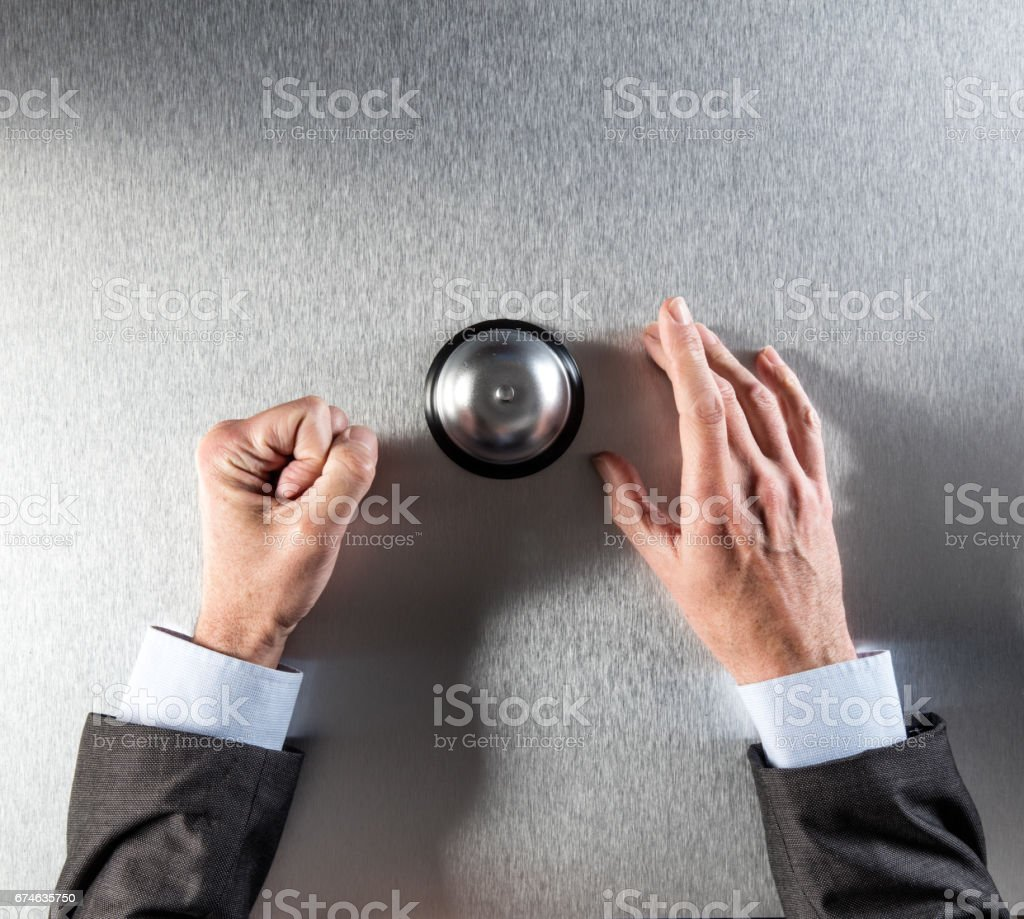 angry businessman hands requiring corporate assistance, copy space, above view stock photo
