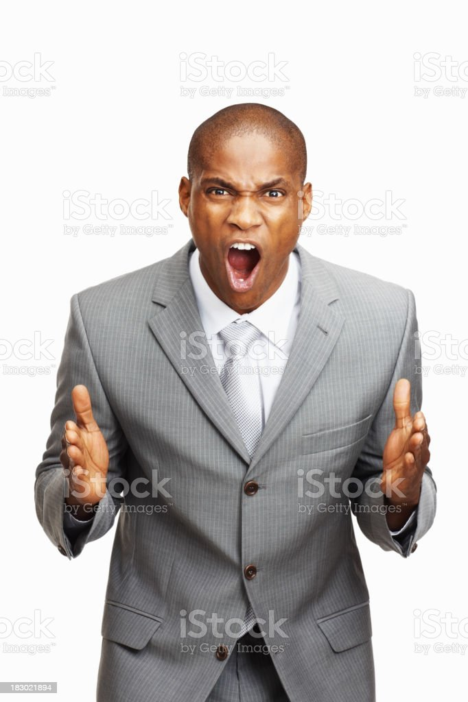 Angry businessman on white backgroud royalty-free stock photo