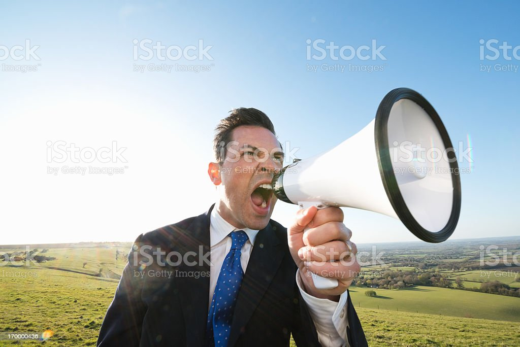 Angry Businessman Shouting royalty-free stock photo