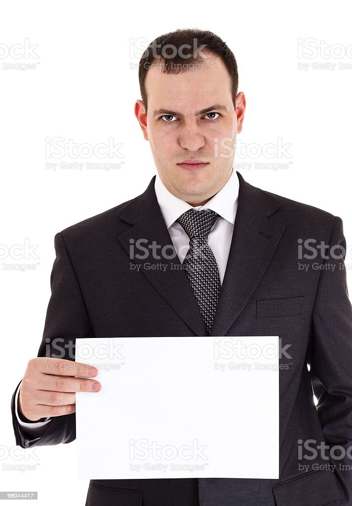 angry businessman show paper royalty-free stock photo