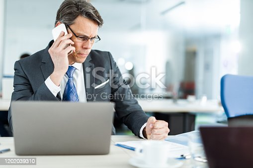 Mid adult CEO reading paperwork in the office while talking to someone over mobile phone.