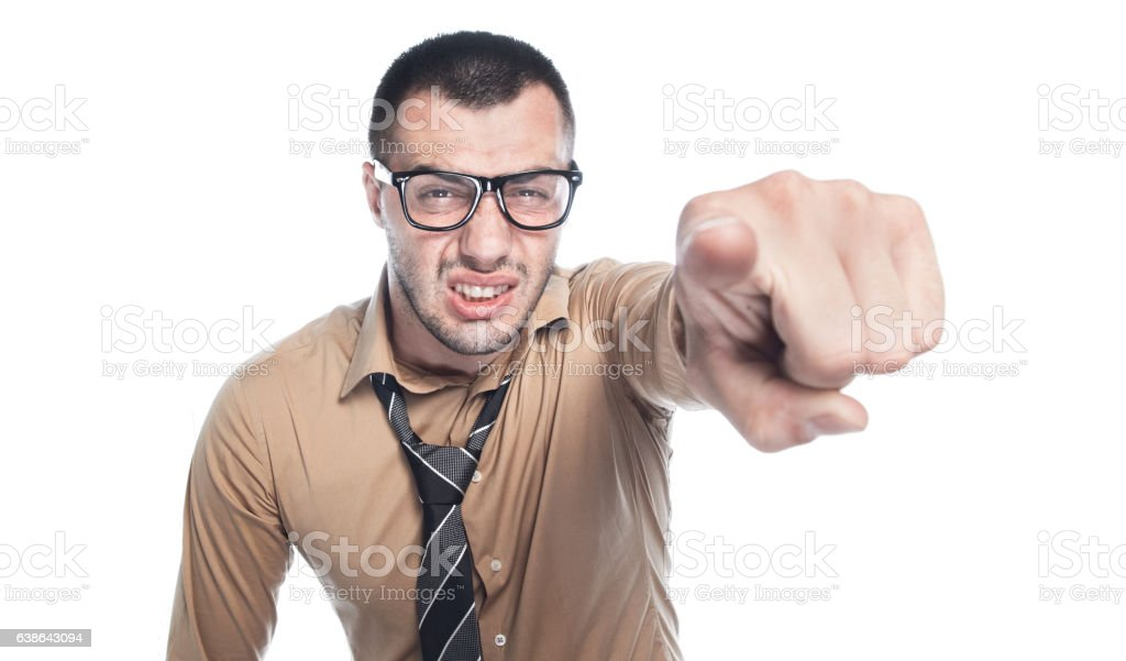 Angry businessman threating stock photo