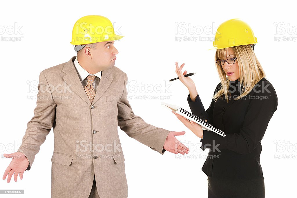 angry businesswoman and architect royalty-free stock photo