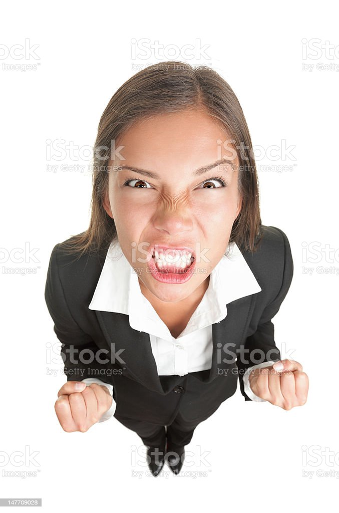 Angry businesswoman isolated royalty-free stock photo