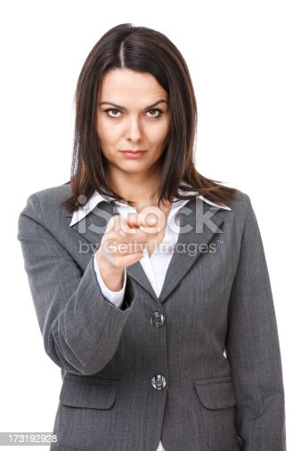 istock Angry businesswoman pointing on you 173192928