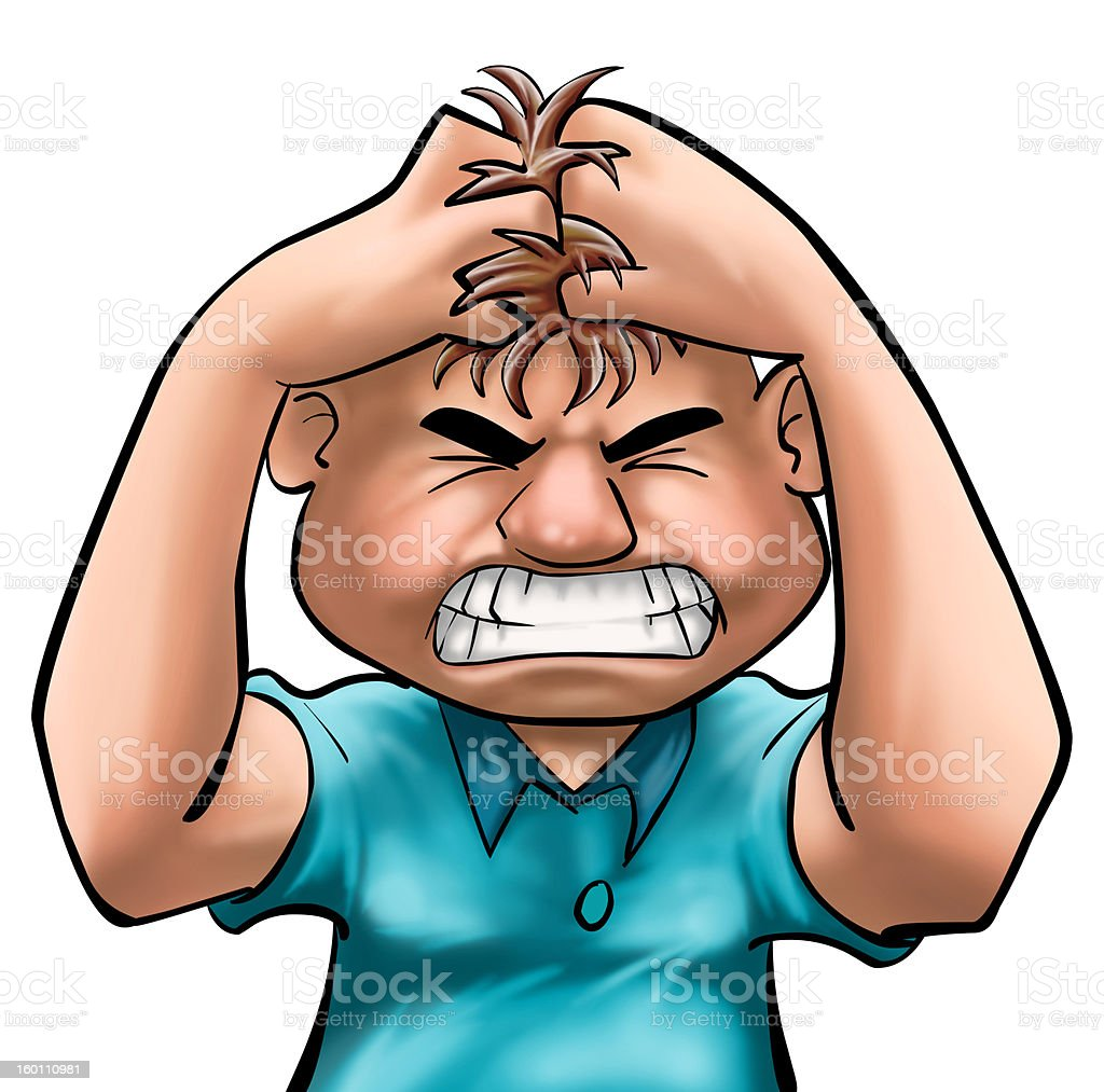 Angry cartoon character clutching his hair royalty-free stock photo