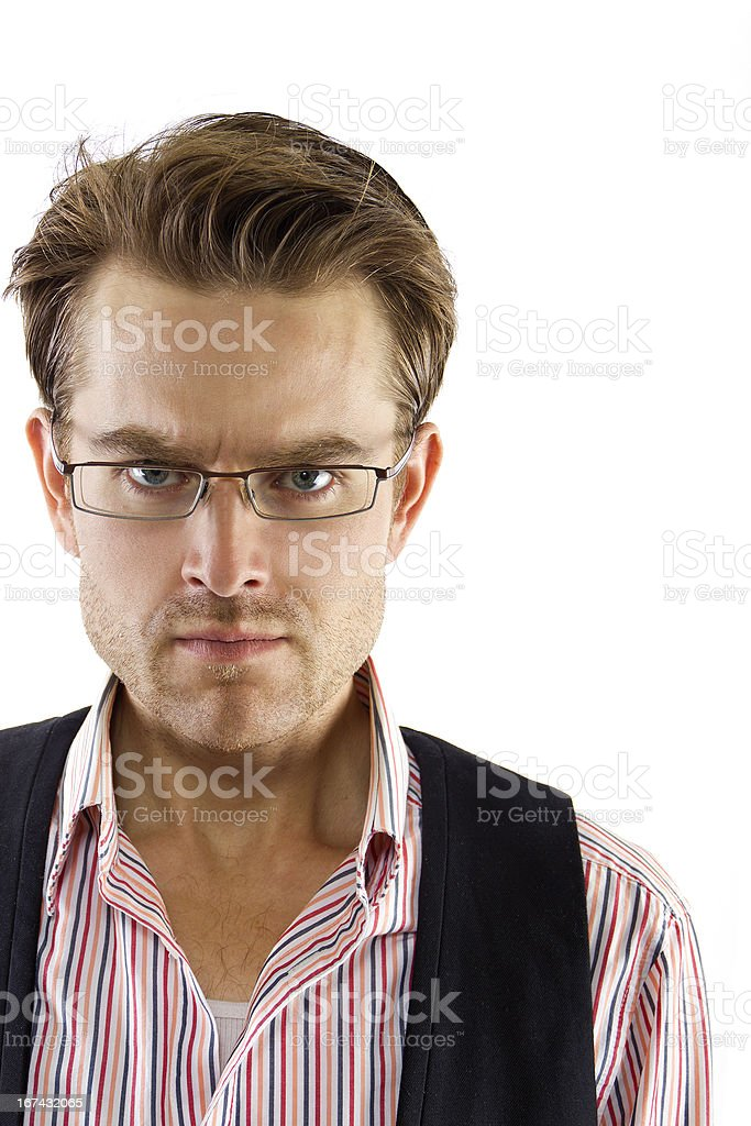 Angry Caucasian Entrepreneur or Businessman with Serious Expression royalty-free stock photo