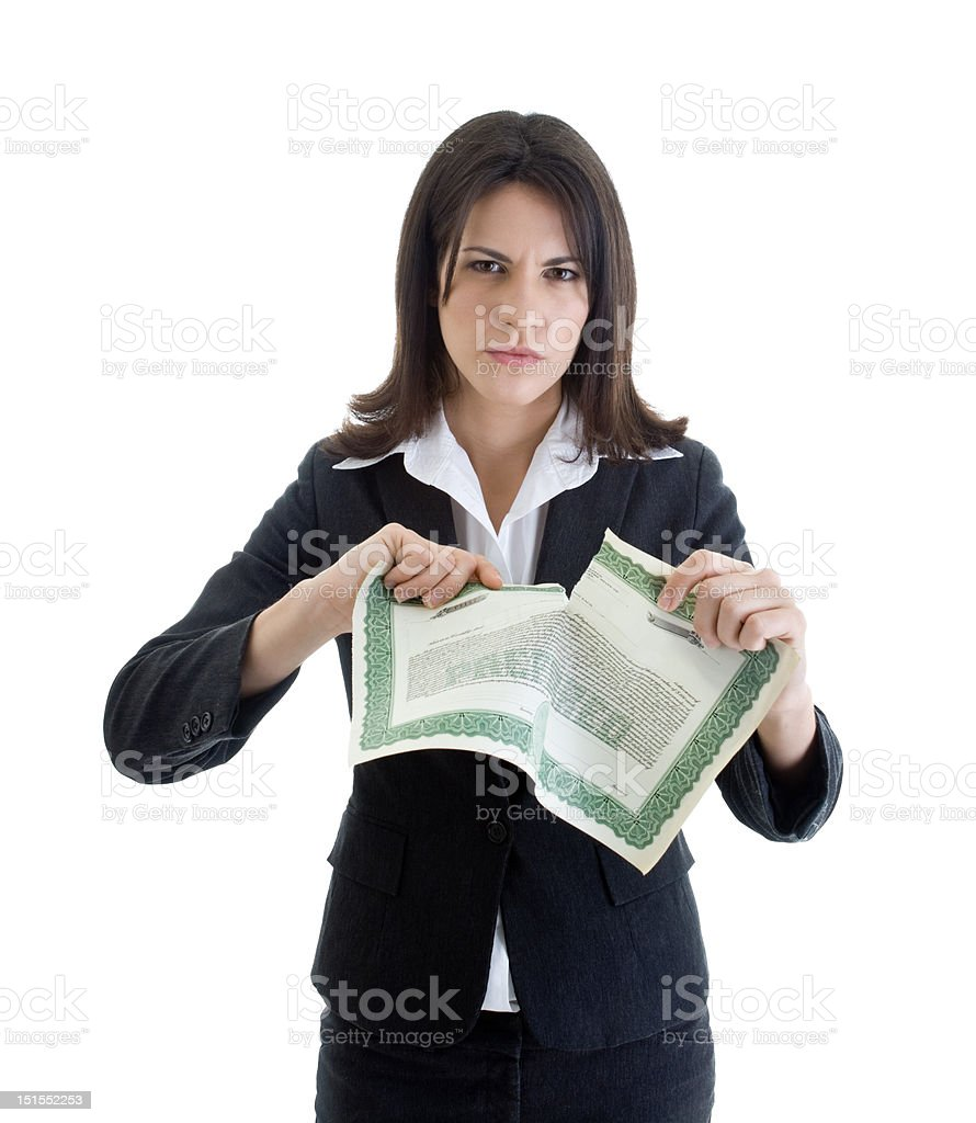 Angry Caucasian Woman Tearing Stock Certificate Isolated on White Background royalty-free stock photo