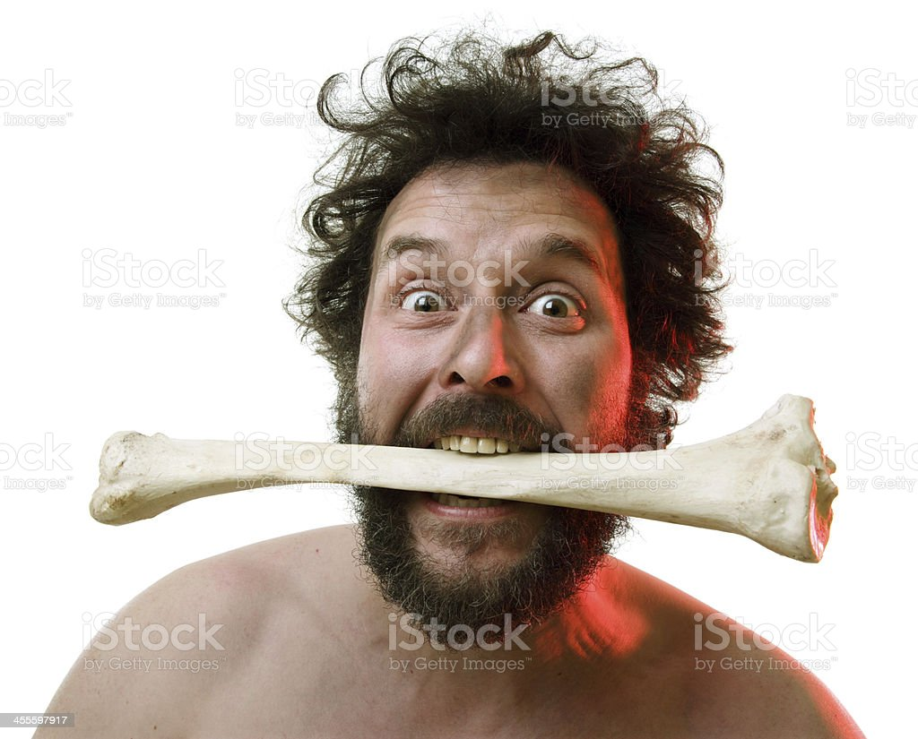 Angry Caveman - Isolated stock photo