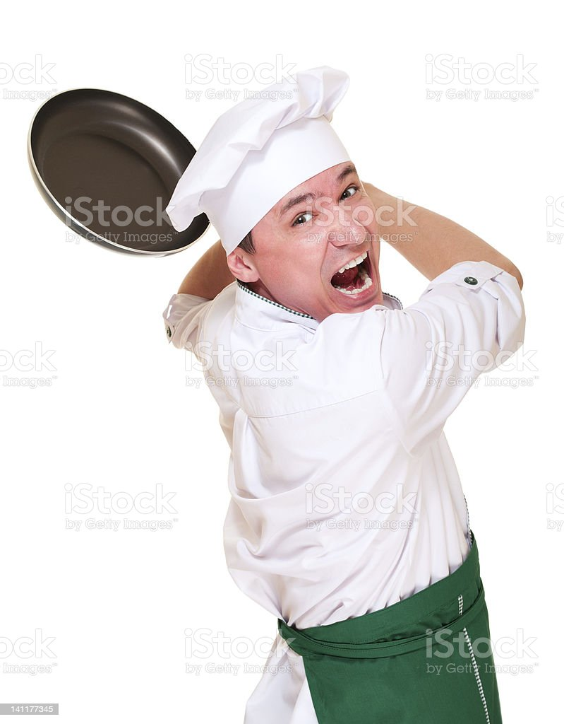 Wütend Chef in der Kapuze bringt mit pan – Foto