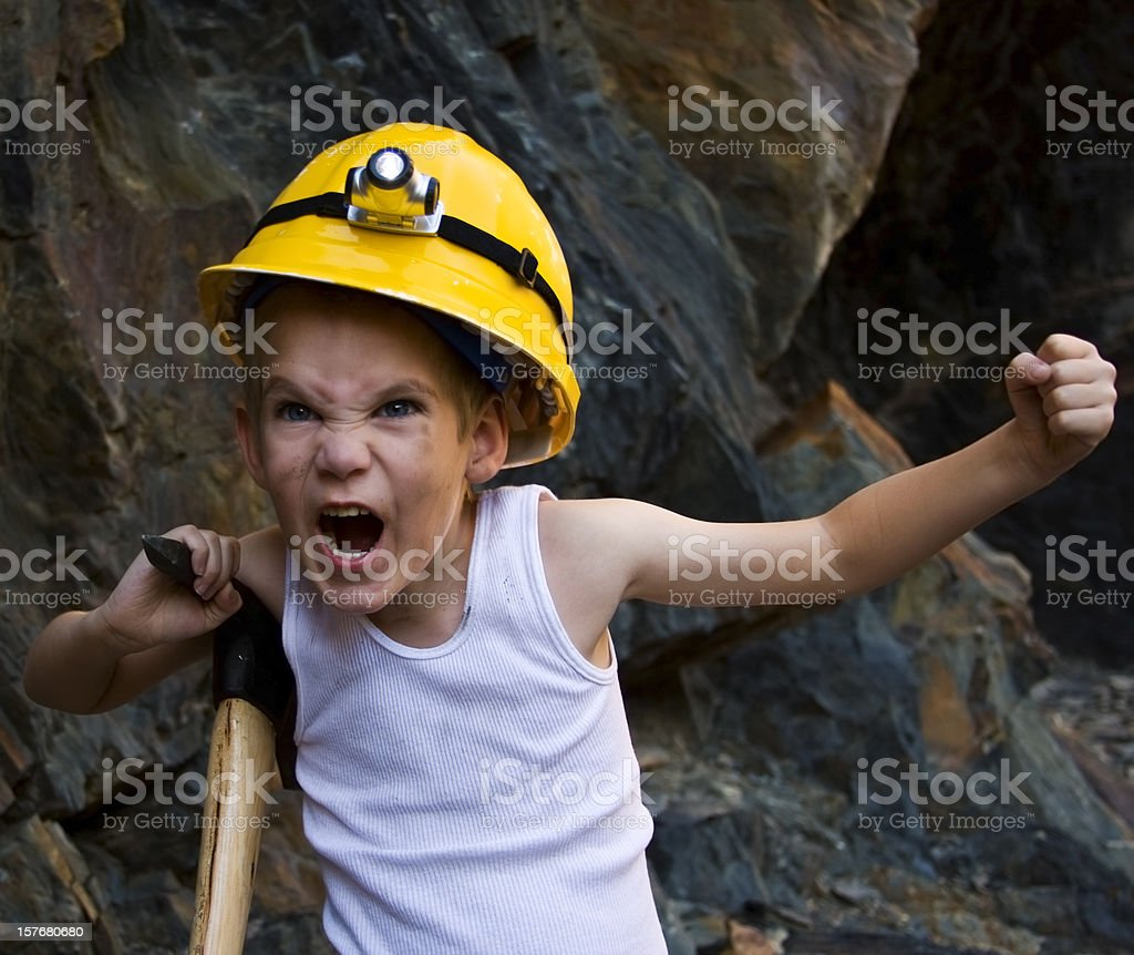Angry Coal Miner royalty-free stock photo