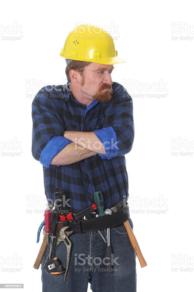 Angry construction worker royalty-free stock photo