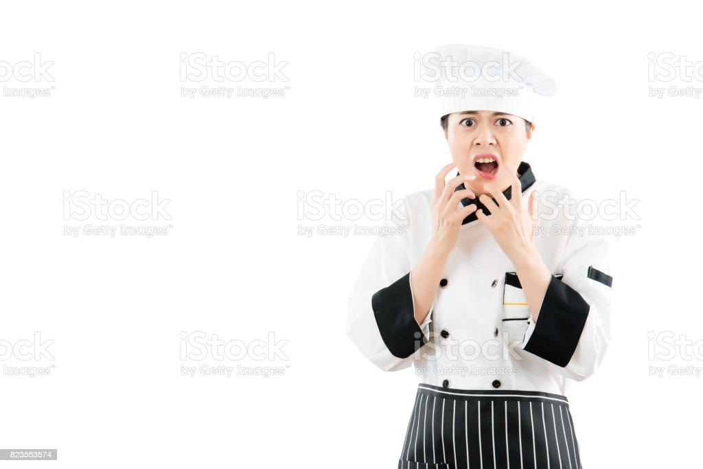 angry cook woman feel crazy and shouting stock photo