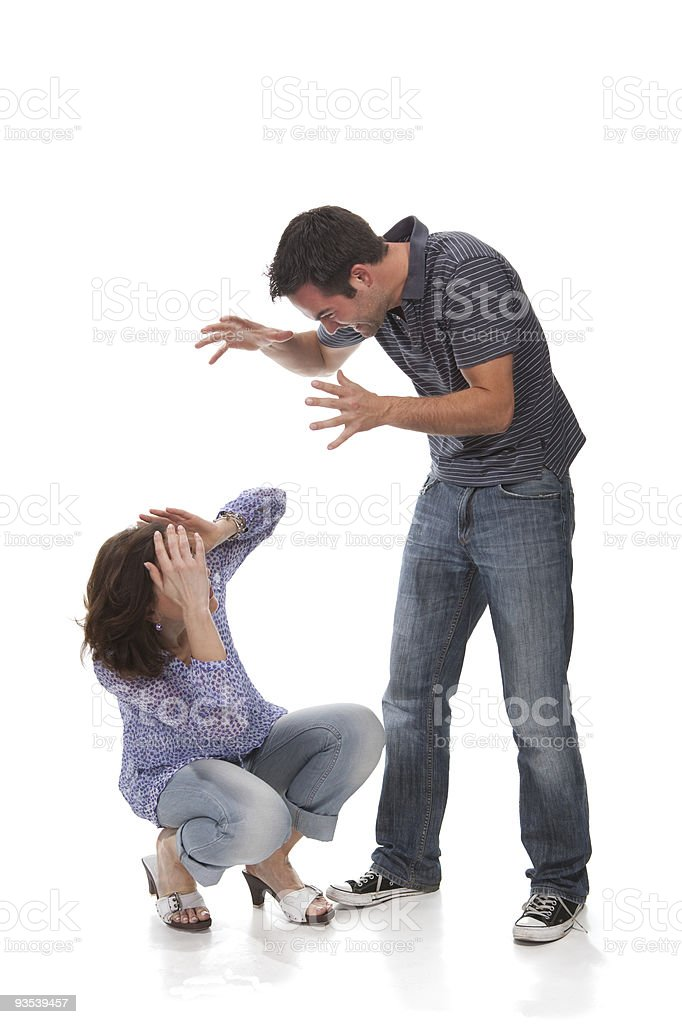 Angry couple yelling at each other royalty-free stock photo