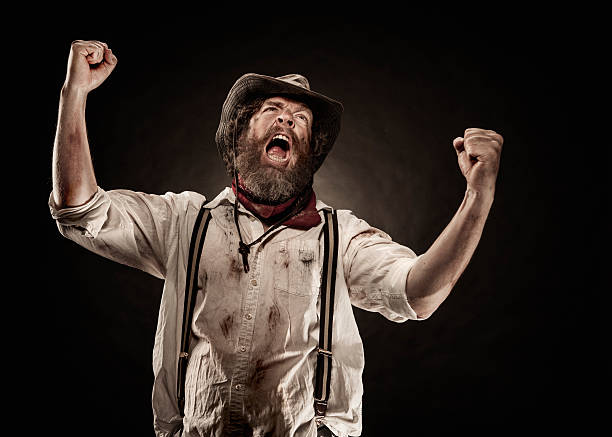 Angry Cowboy Portrait stock photo