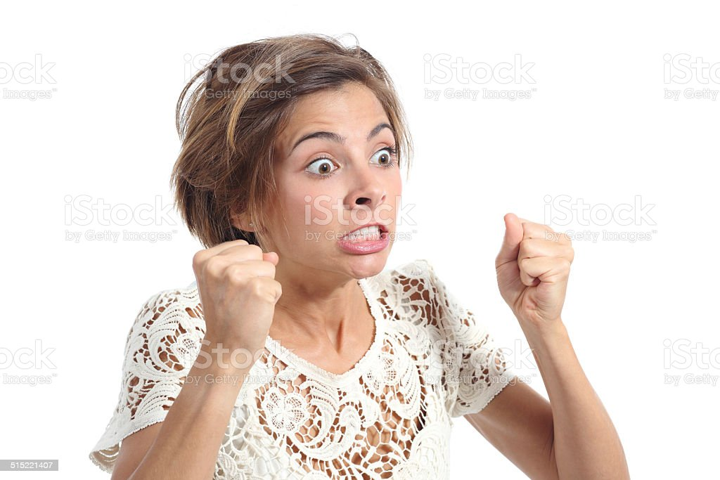 Angry crazy woman with rage expression stock photo
