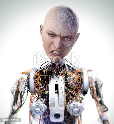 Angry robot cries. Photorealistic 3D illustration.
