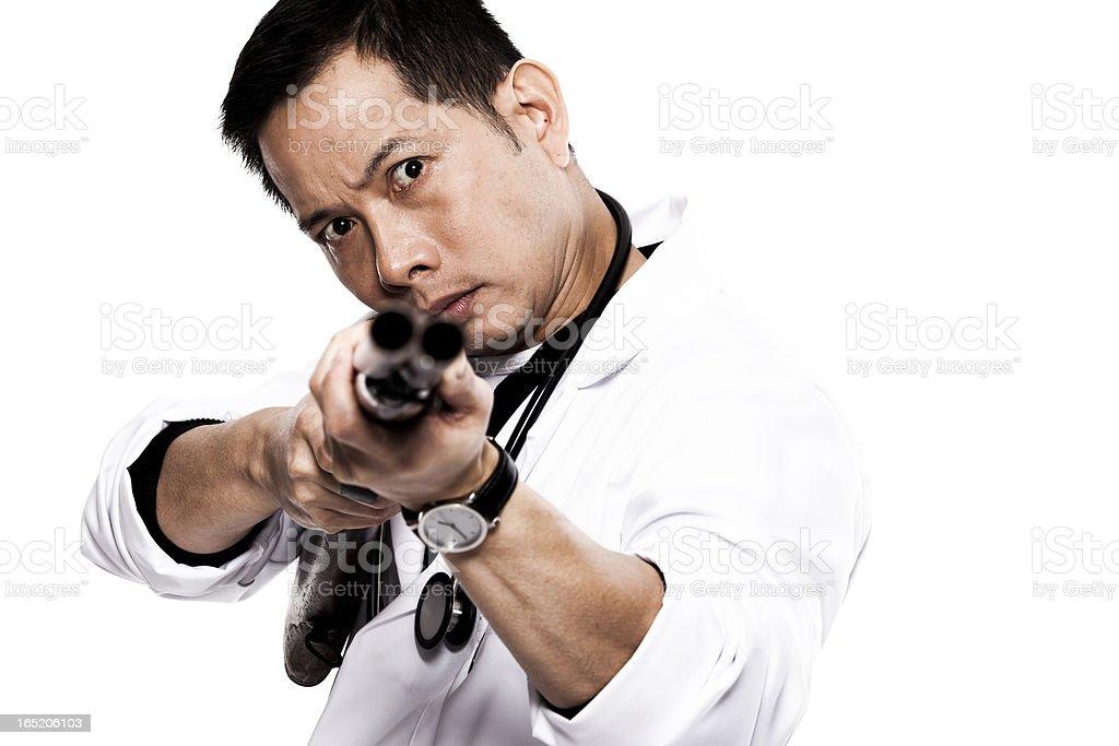 Angry doctor with shotgun stock photo