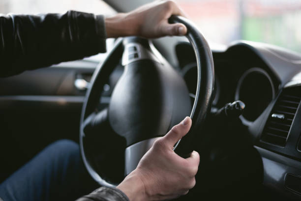Angry driver. A driver is drifting on his car in sharp turn. Driver is lost control on the road. Automobile emergency stop to avoid an road accident. slow motion stock pictures, royalty-free photos & images