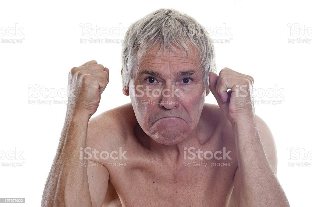 Angry elderly man with naked shoulders and chest royalty-free stock photo