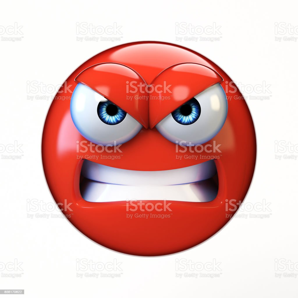 Angry emoji isolated on white background, mad emoticon 3d rendering stock photo