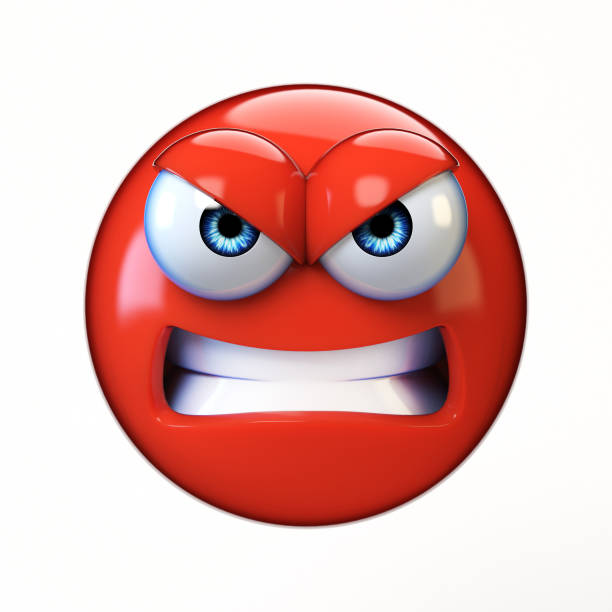 angry emoji isolated on white background, mad emoticon 3d rendering - emoticons stock photos and pictures