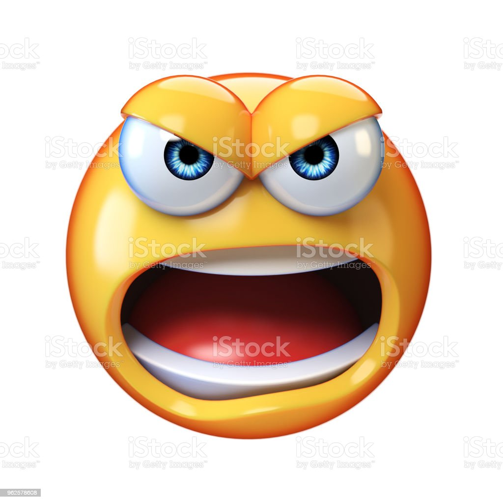 Angry emoji shouting isolated on white background stock photo