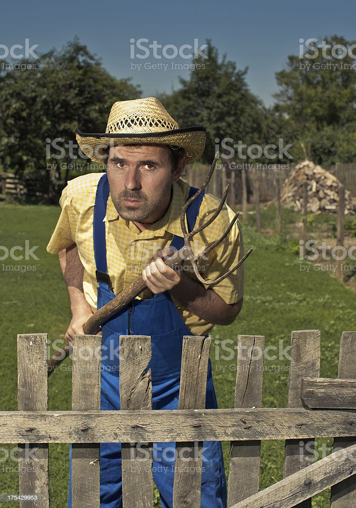 Angry farmer stock photo