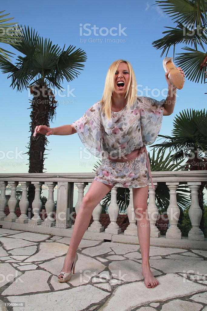 Angry fashion girl stock photo