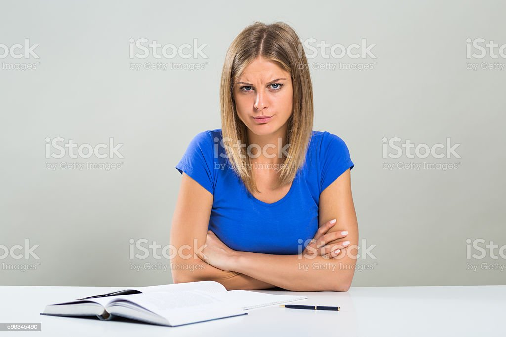 Angry female student royalty-free stock photo