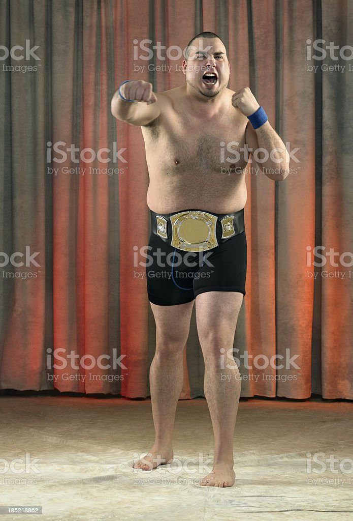 Angry fighter in motion stock photo