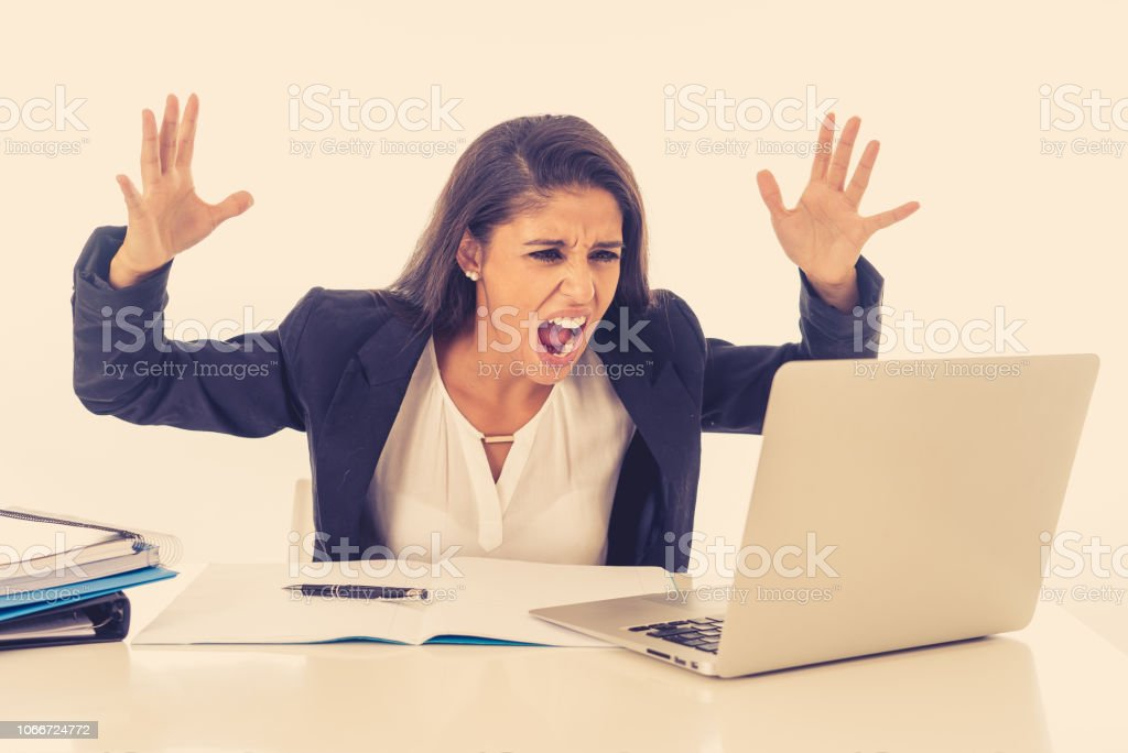 Angry Furious Stressed And Overworked Businesswoman Yelling