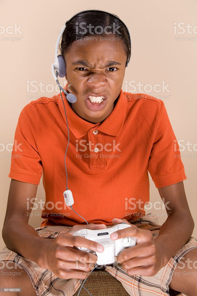 Angry Gamer stock photo