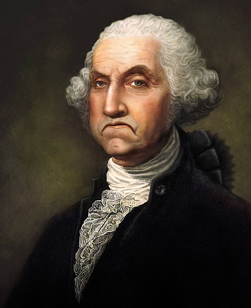 """Angry George Washington """"Original digital painting by me depicting George Washington in a very bad mood, obviously displeased with the way things have turned out."""" us president stock pictures, royalty-free photos & images"""