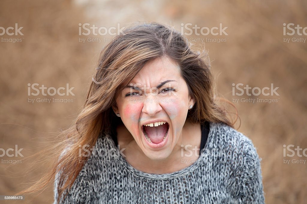 Angry girl stock photo
