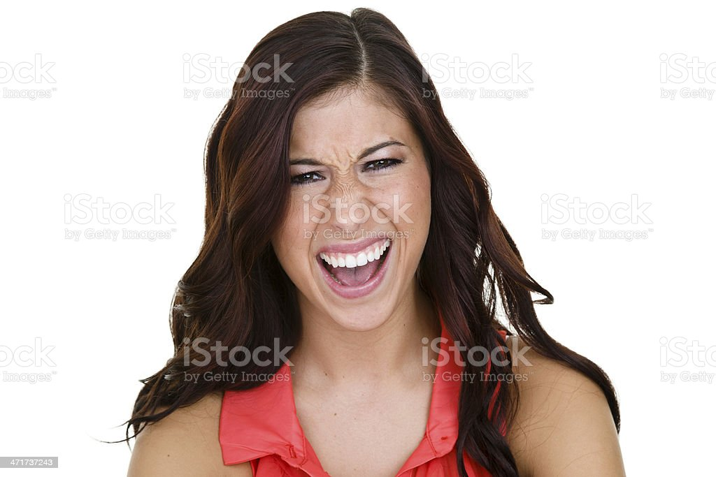 Angry girl yelling at viewer royalty-free stock photo